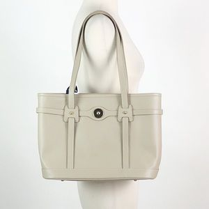 Dooney and Bourke | Taupe Leather Logo Lock Tote